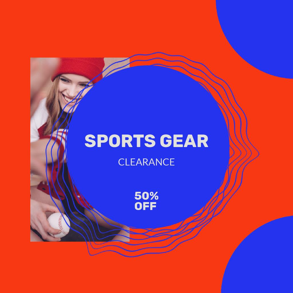 Sport gear Sale with Woman playing Baseball — Créer un visuel