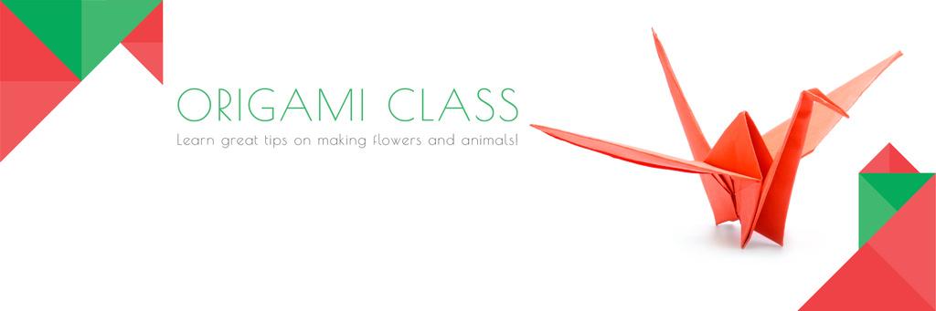Origami Classes Invitation Paper Crane in Red Twitterデザインテンプレート