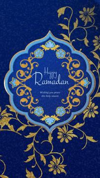 Ramadan Kareem Greeting Blue Floral Pattern Frame | Vertical Video Template
