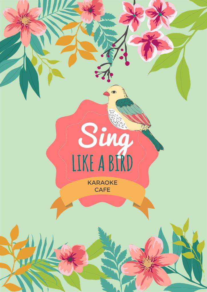 Karaoke cafe poster with cute bird — Create a Design