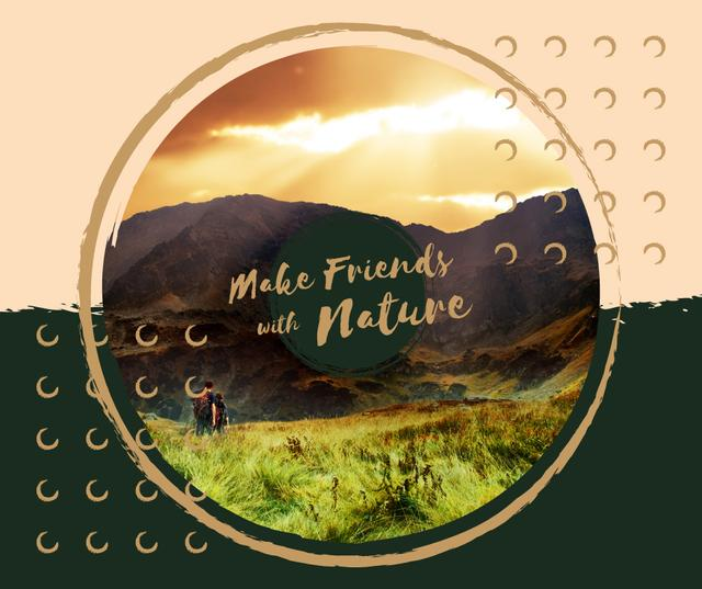 Plantilla de diseño de Hikers enjoying valley view Facebook