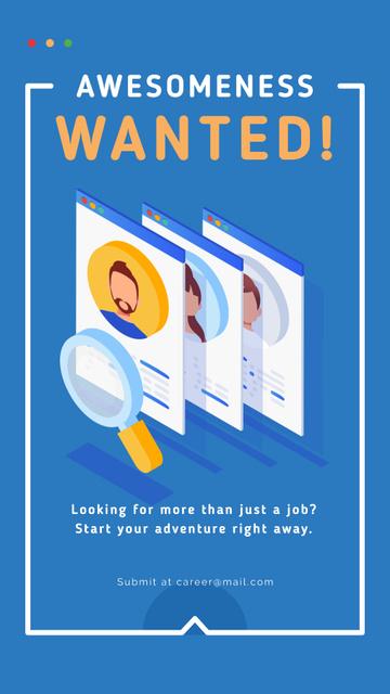 Magnifying glass searching candidates Instagram Story Šablona návrhu