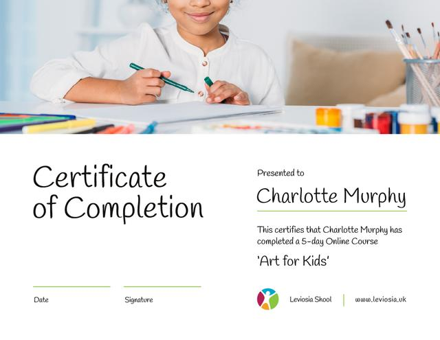 Template di design Art Online Course Completion confirmation Certificate