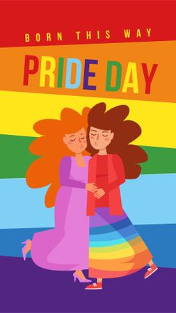 Plantilla de diseño de Pride Day with Two women hugging Instagram Story