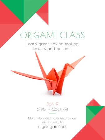 Plantilla de diseño de Origami Classes Invitation Paper Bird in Red Poster US