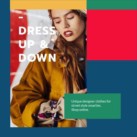 Plantilla de diseño de Designer Clothes Store ad with Stylish Woman Animated Post