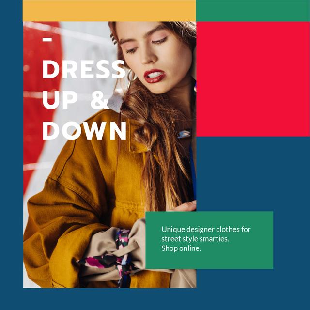 Ontwerpsjabloon van Animated Post van Designer Clothes Store ad with Stylish Woman
