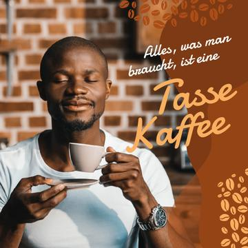 Coffee Shop Promotion Man with Hot Cup | Instagram Post Template