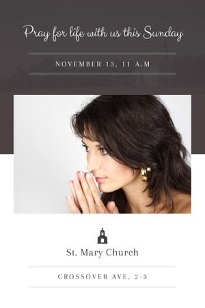 Template di design Church Invitation with Praying Woman Pinterest