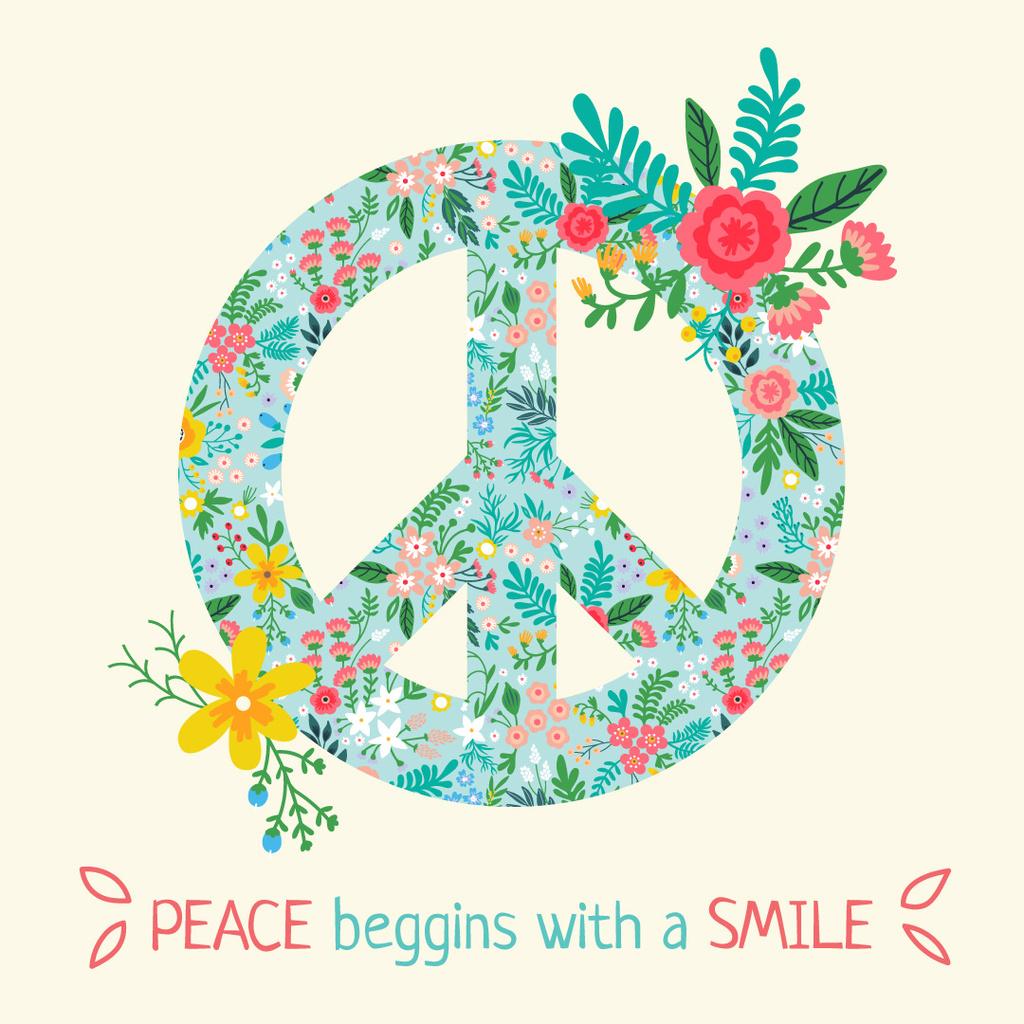 Bright peace sign with phrase — Modelo de projeto
