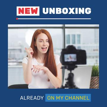 Woman Video Blogger Presenting by Camera | Square Video Template