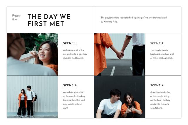 Stylish Couple in Minimalistic Outfit Storyboard Design Template