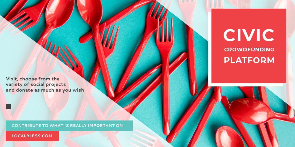 Crowdfunding Platform Red Plastic Tableware — Modelo de projeto