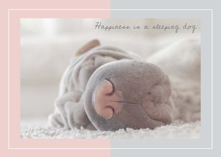 Ontwerpsjabloon van Card van Cute Sleeping dog
