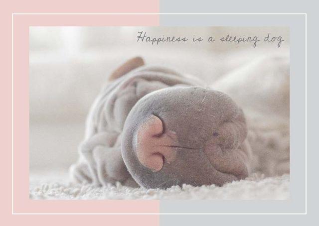 Cute Sleeping dog Card Modelo de Design