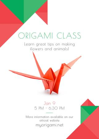 Origami Classes Invitation Paper Bird in Red Invitation Tasarım Şablonu