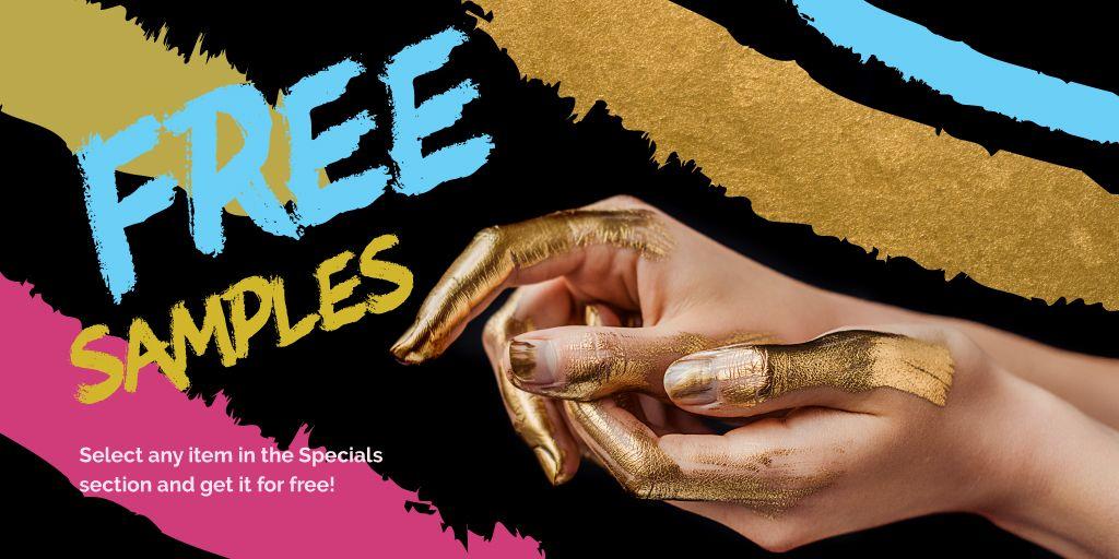 Female hands in golden paint Twitter – шаблон для дизайна