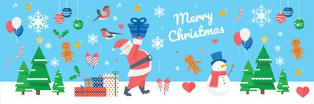 Christmas Holiday Greeting Santa Delivering Gifts Twitter Tasarım Şablonu