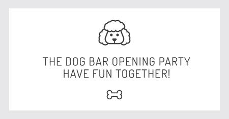 The dog bar Opening party with Puppy Icon Facebook AD Design Template