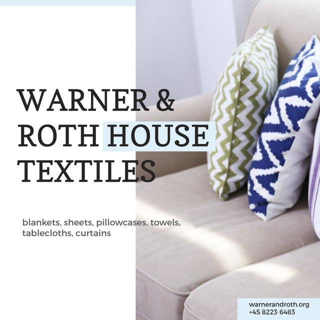 Designvorlage Home Textiles Ad Pillows on Sofa für Instagram AD