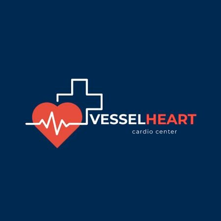 Cardio Center with Heartbeat and Cross Animated Logo Modelo de Design