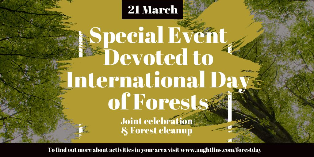 International Day of Forests Event Tall Trees   Twitter Post Template — Modelo de projeto