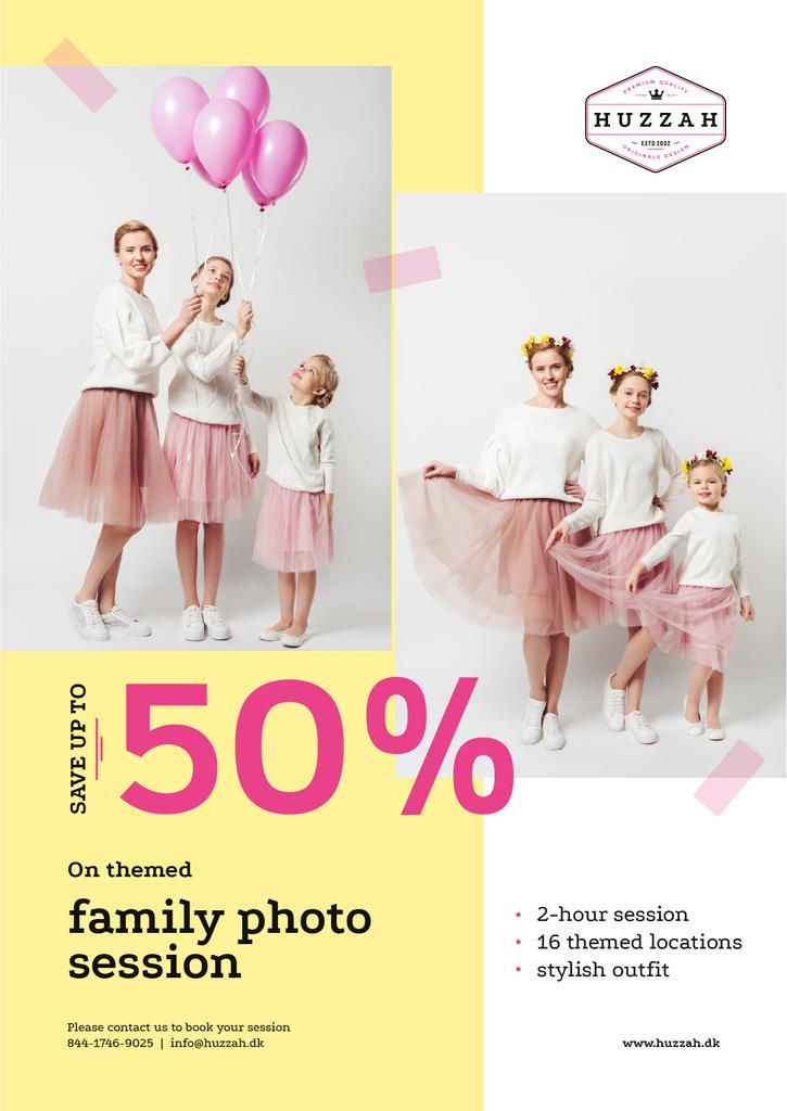 Family Photo Session Offer Mother with Daughters | Poster Template — Créer un visuel