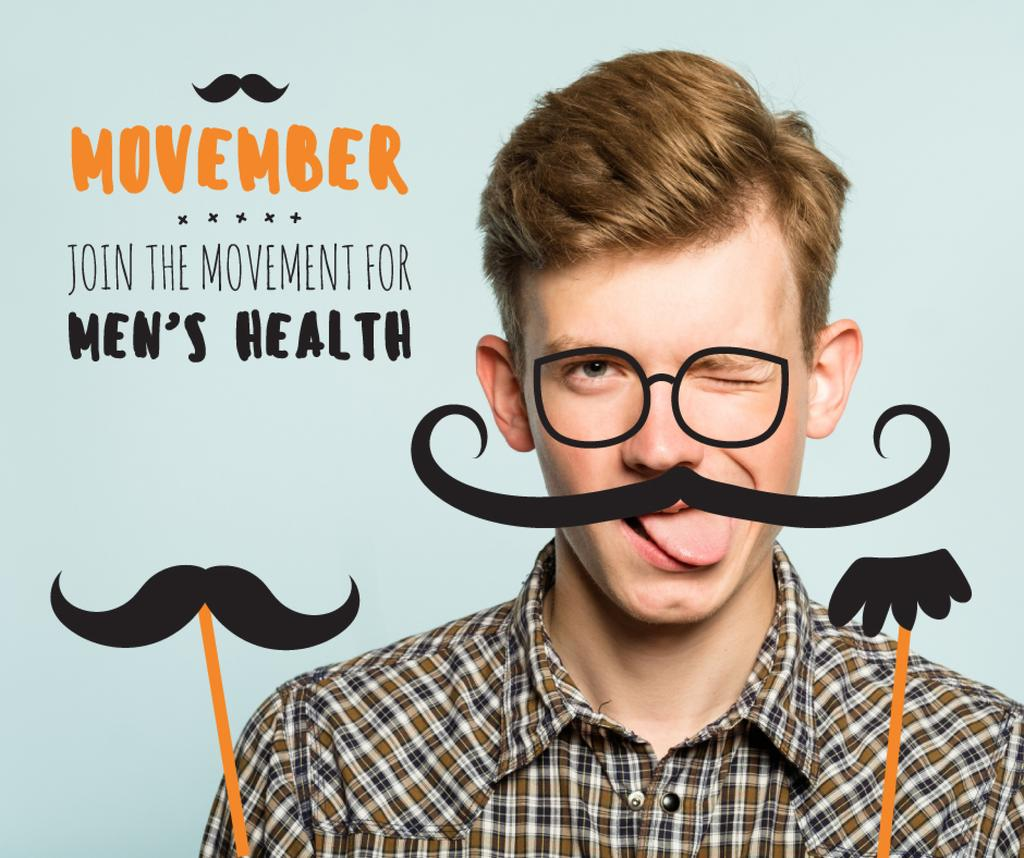 Boy with mustache and beard mask on Movember — Maak een ontwerp