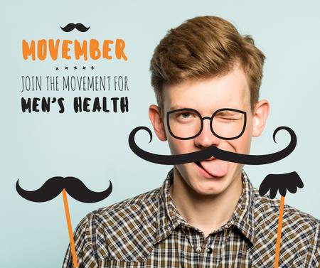 Szablon projektu Boy with mustache and beard mask on Movember Facebook