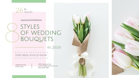 Florist Services Ad Wedding Bouquet with Tulips FB event cover Modelo de Design
