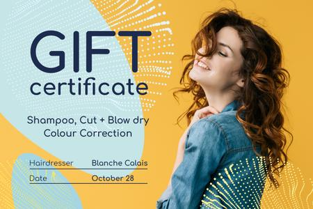 Beauty Studio Ad with Woman with Curly Hair Gift Certificate – шаблон для дизайну