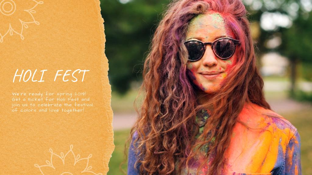 Indian Holi Festival Celebration Girl in Paint — ein Design erstellen