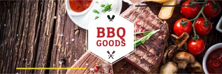 BBQ Food Offer with Grilled Meat Email header Modelo de Design