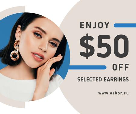 Jewelry Offer Woman in Stylish Earrings Facebook Design Template