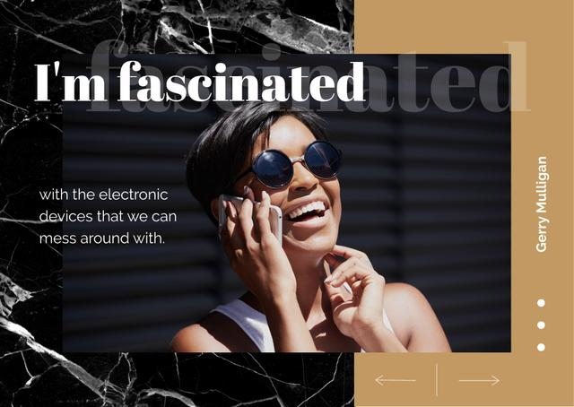 Plantilla de diseño de Woman talking on smartphone Postcard