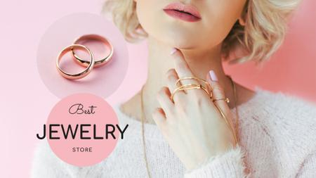 Template di design Jewelry Sale Woman in Precious Rings FB event cover