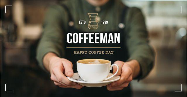 Modèle de visuel Coffee Day Barista serving coffee - Facebook AD