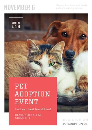 Plantilla de diseño de Pet adoption Event with Dog and Cat Poster