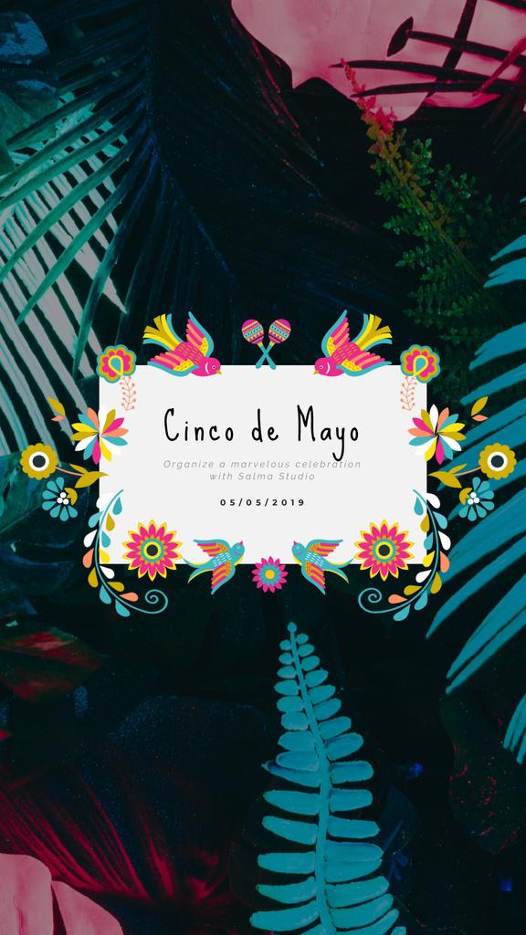 Cinco de Mayo Mexican Greeting Floral Frame — Crear un diseño