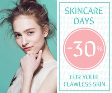 Skincare Products Sale Girl with Glowing Skin | Large Rectangle Template