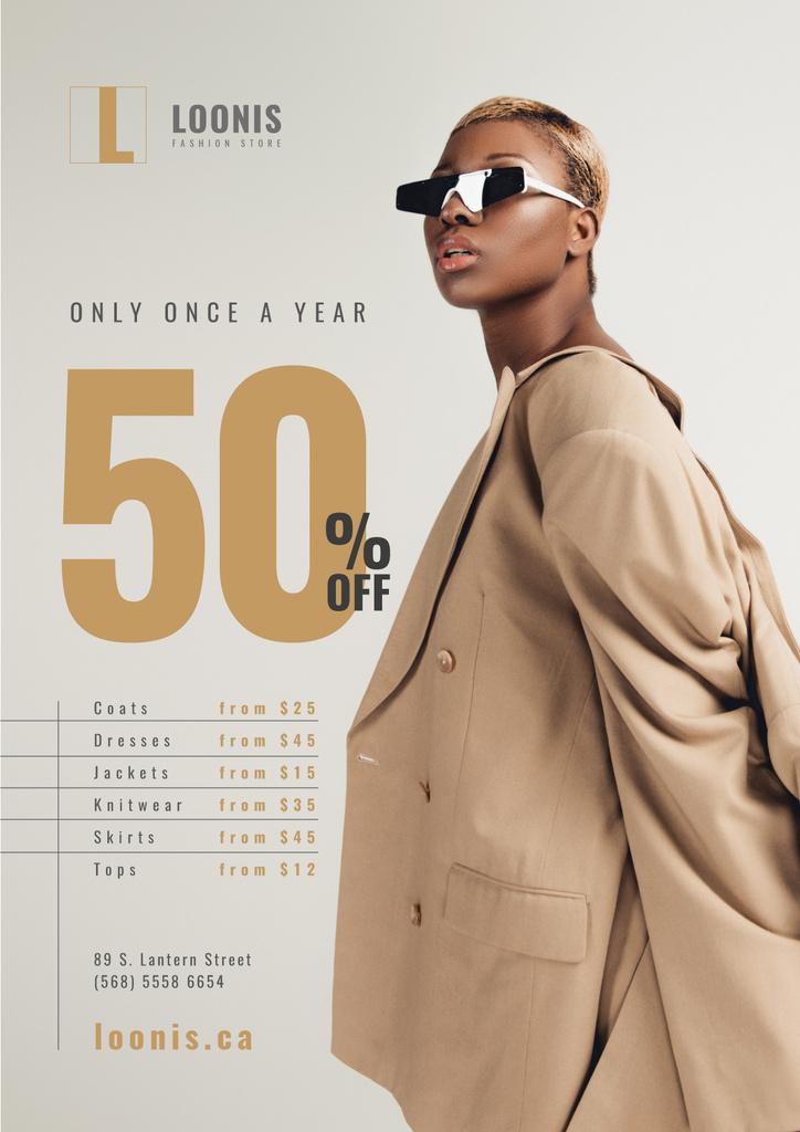 Fashion Store Sale Woman in Sunglasses — Modelo de projeto