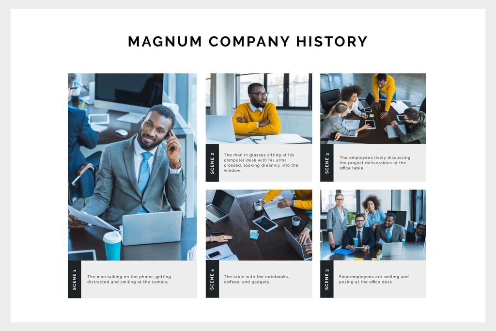Company History with Group of Businesspeople Storyboard Design Template