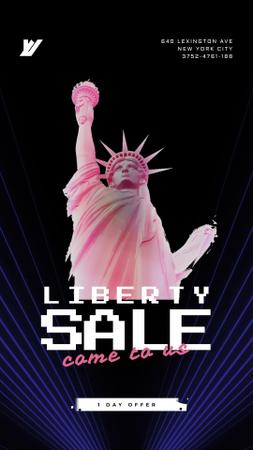 Independence Day Liberty Statue in Pink Instagram Video Story Modelo de Design