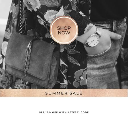Szablon projektu Summer Sale with Stylish Woman with vintage watch Instagram