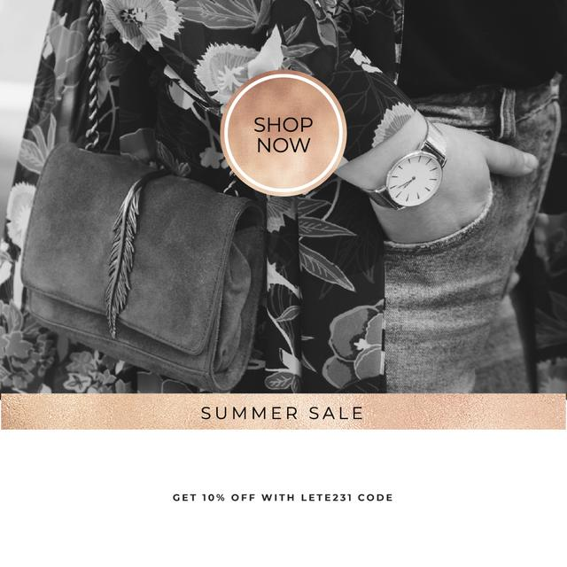 Summer Sale with Stylish Woman with vintage watch Instagram Modelo de Design