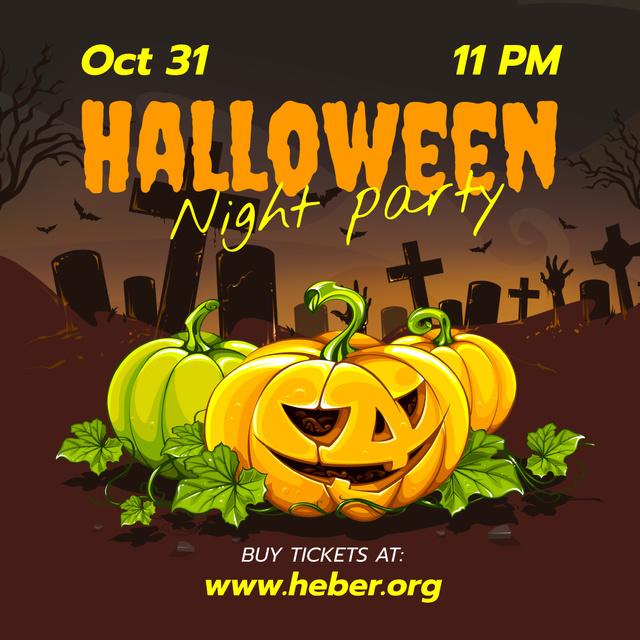 Ontwerpsjabloon van Instagram van Halloween Party Invitation Carved Pumpkins at Graveyard