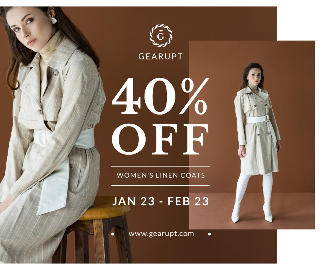 Fashion Sale Stylish Woman in Trench Coat —デザインを作成する