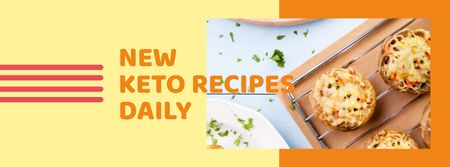 Stuffed Mushroom dish for keto Facebook cover Modelo de Design