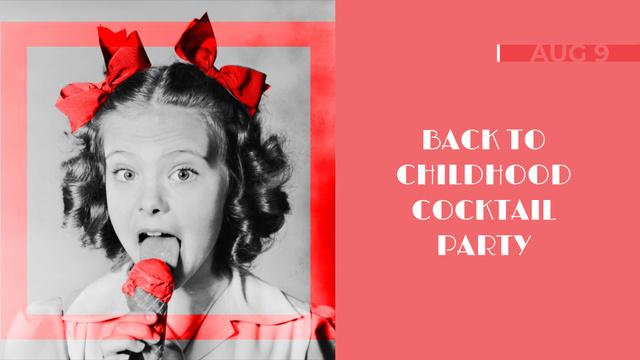 Party Invitation Funny Girl Eating Ice Cream Full HD video – шаблон для дизайну