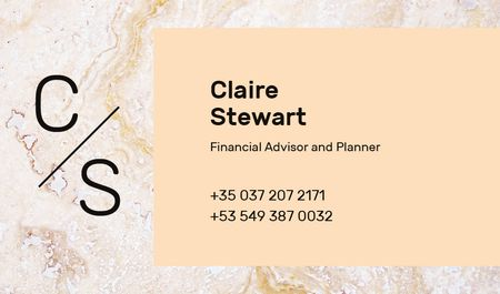 Financial Advisor Contacts Marble Light Texture Business card Tasarım Şablonu